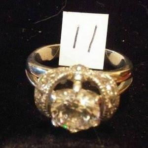 Silvertone & Rhinestone Ring Size 11